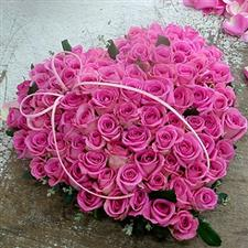 Heart with 101 pink roses.
